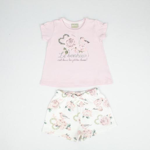 Conjunto Feminino Blusa Estampada Rosas e Shorts Moletinho 11889 - Milon