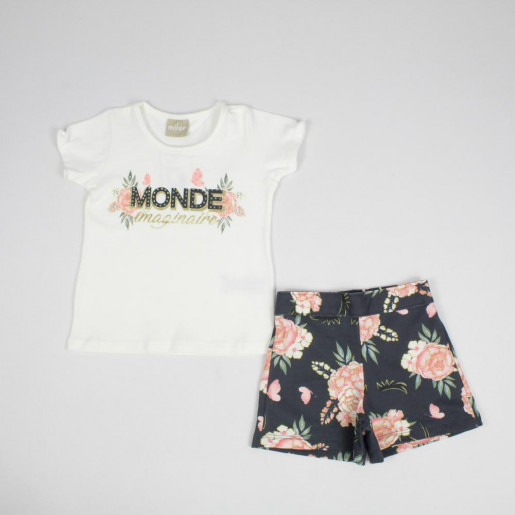Conjunto Feminino Blusa Estampada Monde com Strass e Shorts 12016 - Milon