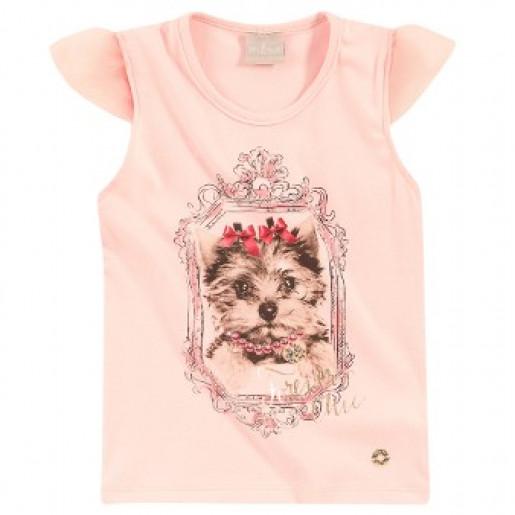 Blusa Feminina Cachorro com Strass 8474 - Milon