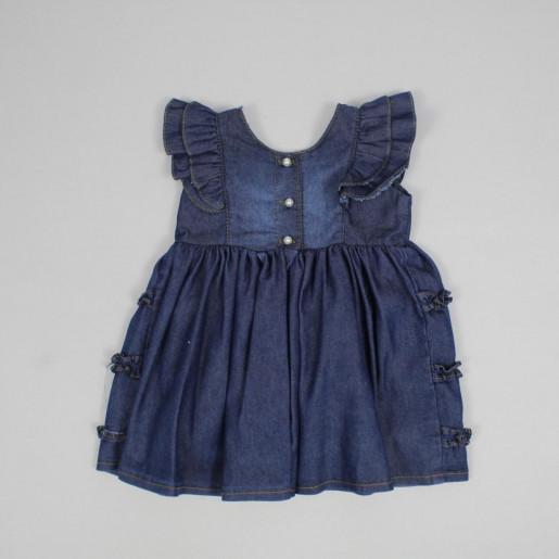 Vestido Jeans com Pérolas 10469 - Mini Miss