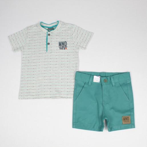 Conjunto Masculino Camiseta com Botões e Bermuda Sarja 41441 - Brandili Mundi