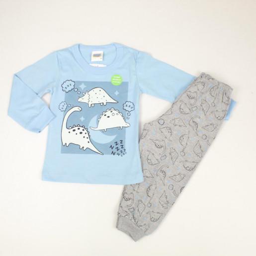 Pijama Longo Masculino Estampa Dinossauros Brilha no Escuro 5883 - Duzizo