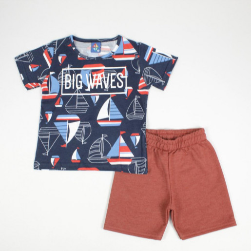 Conjunto Masculino Camiseta e Bermuda Moletinho Estampas Sortidas 135274 - Pipa