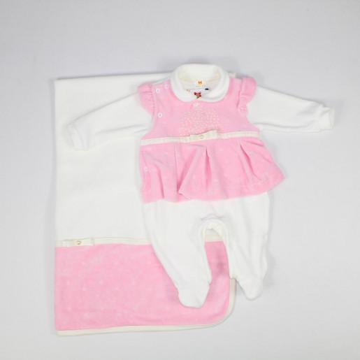 Saida Maternidade Plush Feminina Macacão e Manta com Pérolas Detalhe Laço 23312 - Sininho Baby