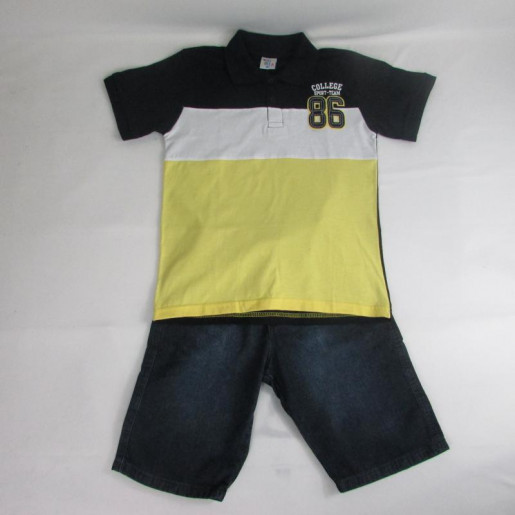 Conjunto Masculino Polo Listrada com Bermuda Jeans 33872 - Pulla Bulla