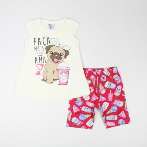 Conjunto Feminino Blusa Estampada Cachorro e Bermuda Sorvete 37724 - Pulla Bulla