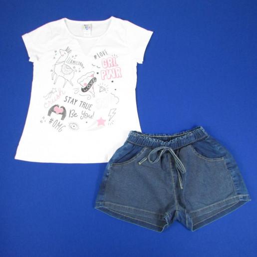 Conjunto Feminino Blusa Estampada Grl Pwr e Shorts Jeans 38420 - Pulla Bulla