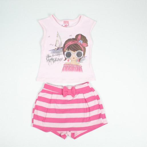 Conjunto Feminino Blusa Estampada e Shorts Saia 1401429 - Kinha