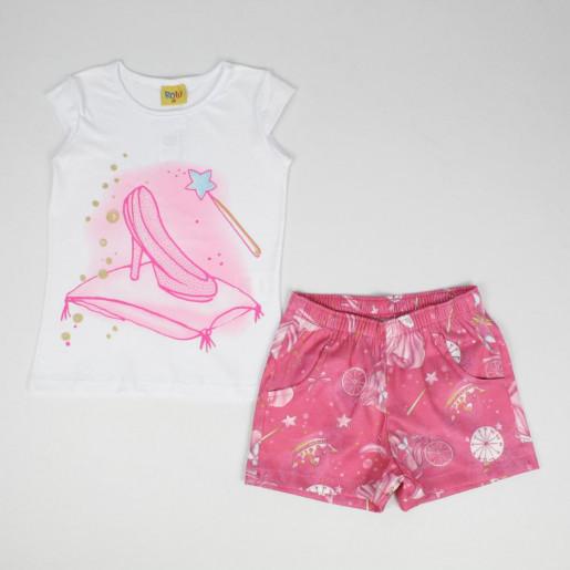 Conjunto Feminino Blusa Estampada Sapato e Shorts Tecido Sublimado 8149-3 - Rolú