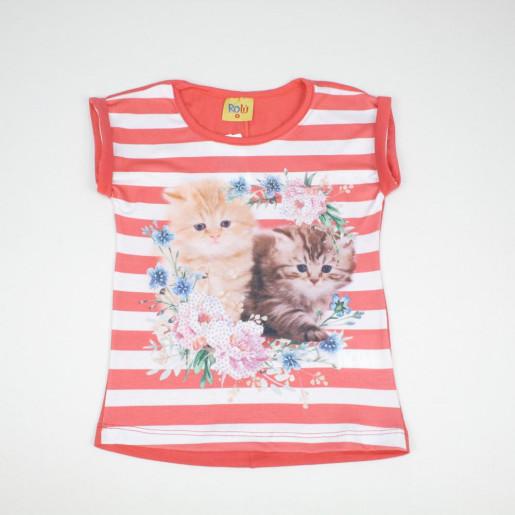 Blusa em Cotton Estampada Gatinhos  Strass 8130-3 - Rolú