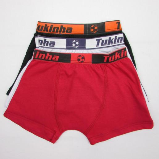 Kit Cueca Boxer Cores Sortidas 018 03Peças - Tukinha