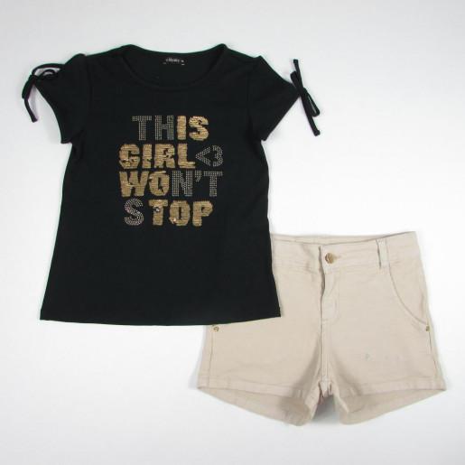 Conjunto Feminino Blusa com Paetê e Shorts 15815 - Turma da Malha