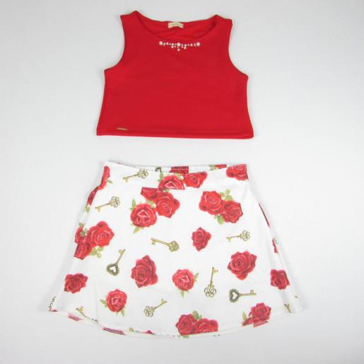 Conjunto Feminino Cropped e Saia Estampada Flores 15839 - Turma da Malha