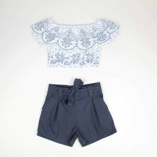 Conjunto Feminino Blusa Cigana Estampada e Shorts Tecido 16175 - Turma da Malha