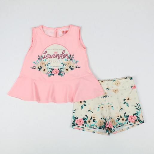 Conjunto Feminino Blusa Bordada Lavender com Lantejoulas e Shorts 66066 - Turma da Malha