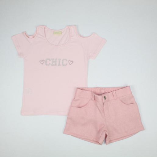 Conjunto Feminino Blusa Estampada Chic e Shorts Linho 285636 - Vrasalon