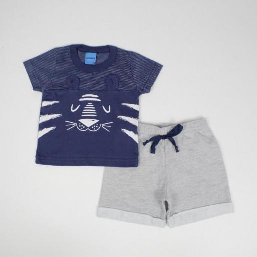 Conjunto Masculino Camiseta Estampada Tigre e Bermuda Moletinho 51016 - Wrk